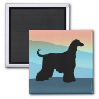 Blue Mountains Afghan Hound Square Magnet