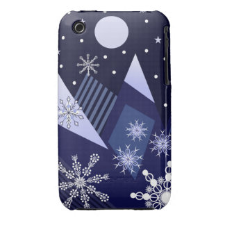 Blue mountains and decorative snowflakes iPhone 3 covers