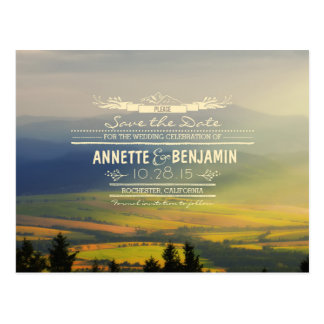 Blue mountains and sunset horizons save the date postcard