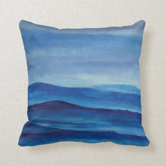 Blue mountains landscape art Throw Cushion