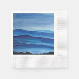 Blue mountains watercolor art landscape paper napkin