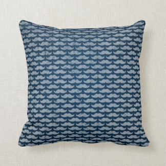 blue moustache pattern cushion