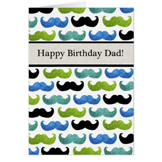 Blue Moustache pattern - Happy Birthday Dad Card