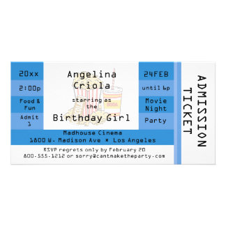 Blue Movie Night Party Admission Ticket Invite
