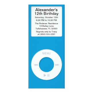 Blue MP3 Player iParty Birthday Party Personalized Announcements