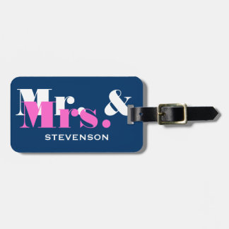 Blue Mr and Mrs travel luggage tag for newly weds