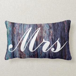 Blue Mr and Mrs Wedding Gift Lumbar Cushion