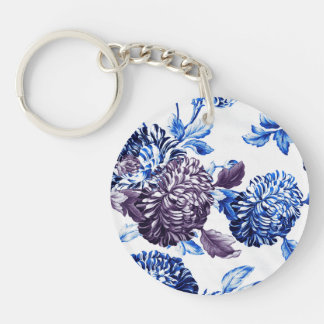 Blue & Mulberry Garden Botanical Floral Key Ring