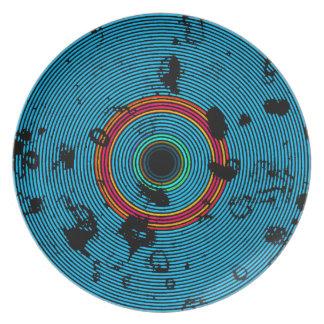 Blue Multicolor Vinyl Disc Texture Pattern Plate