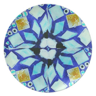 Blue multicoloured mosaic plate