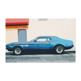 Blue Muscle Car Parked in Front of a House Canvas