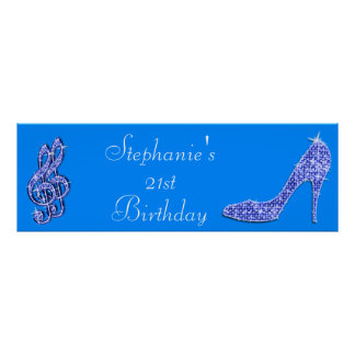 Blue Music Note and Stiletto 21st Birthday Poster