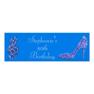 Blue Music Note and Stiletto 50th Birthday Poster