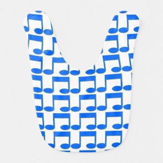 Blue Music Notes Baby Bib