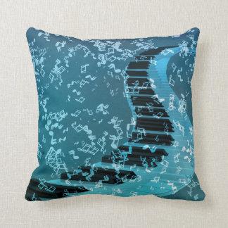 Blue Music Piano Keybord Decorative Throw Pillows