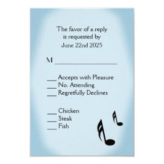 Blue Music Wedding Menu Choice 9 Cm X 13 Cm Invitation Card
