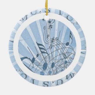 Blue Musical Notes Round Ceramic Decoration