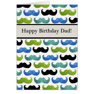 Blue Mustache pattern - Happy Birthday Dad Card