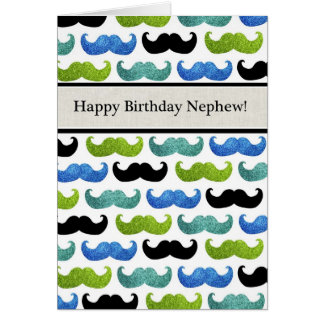 Blue Mustache pattern - Happy Birthday Nephew Greeting Card