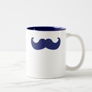 Blue Mustache Two-Tone Coffee Mug