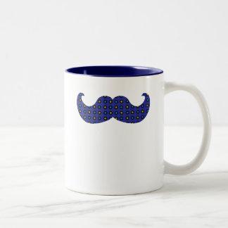 Blue Mustache Two-Tone Coffee Mug