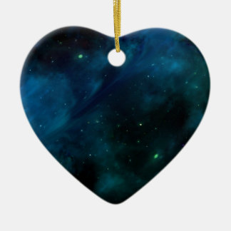 Blue Mysterious Space and Stars design Ceramic Heart Decoration