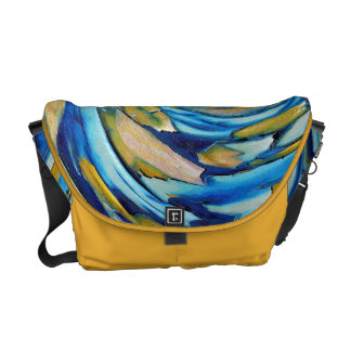 Blue N Gold Abstract Art Rickshaw Messenger Bag