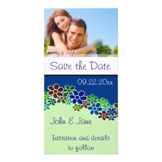 """Blue n Green Flowers/photo  """"Save the Date"""" Photo Cards"""