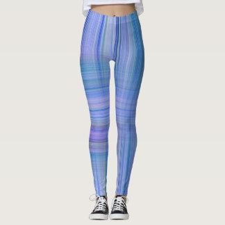 Blue n Lavender Striped Design Leggings