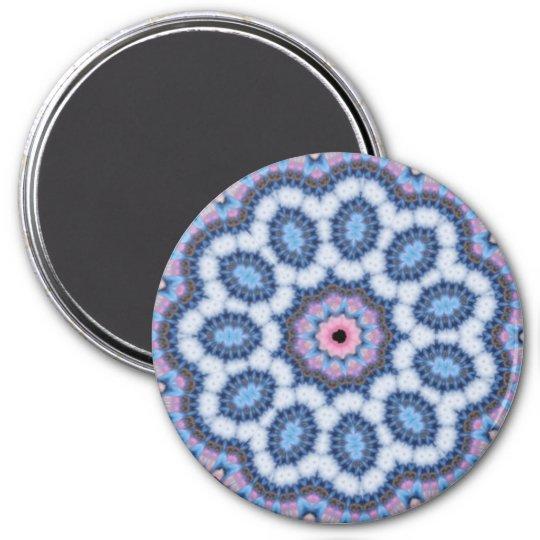 blue n pink kaleidoscope 7.5 cm round magnet