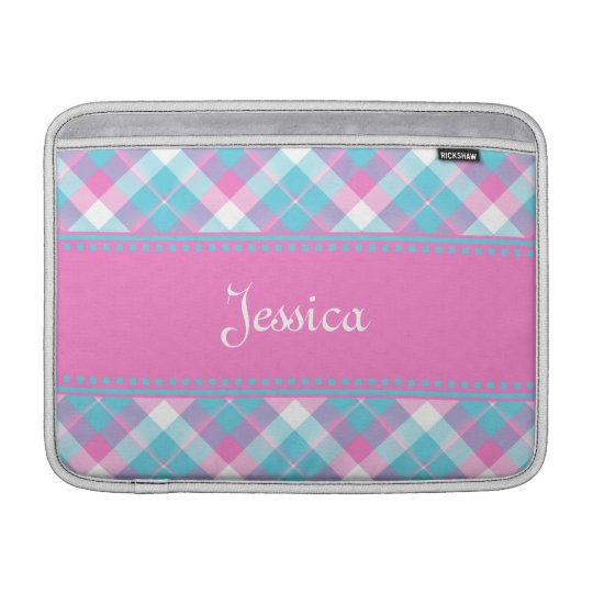 Blue n Pink Plaid MacBook Air Sleeve 3