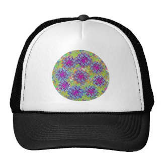 Blue n Purple Dancing Waves on Green Florals Mesh Hats