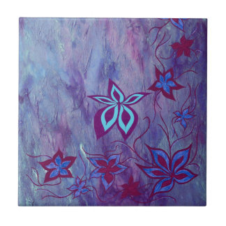 Blue n purple floral ceramic tile