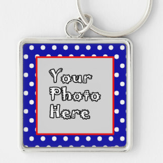 Blue n White Polka Dots Red Trim Silver-Colored Square Key Ring