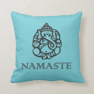 Blue Namaste Ganesh Pillow