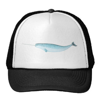 Blue Narwhal Illustration Cap