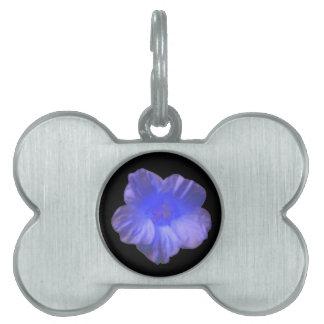 Blue Nasturtium Flower Pet Tag