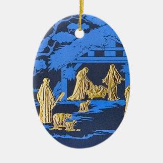 Blue nativity christmas ornament