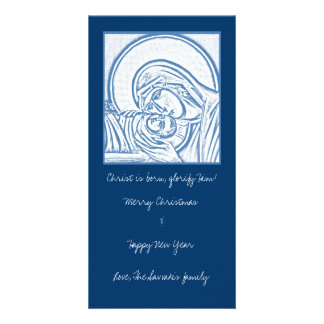 Blue Nativity Customized Photo Card