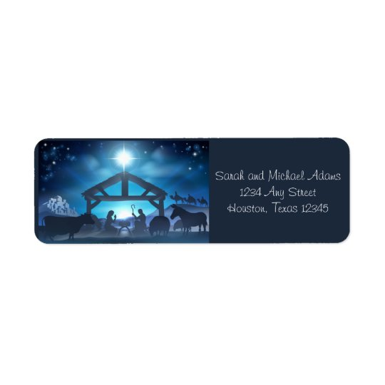 Blue Nativity Religious Christmas Return Address