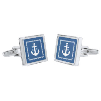 Blue Nautical Anchor and Framed Monogram Silver Finish Cuff Links