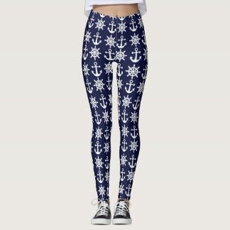 Blue Nautical Anchor Leggings
