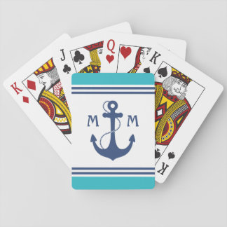 Blue Nautical Anchor Monogram Playing Cards