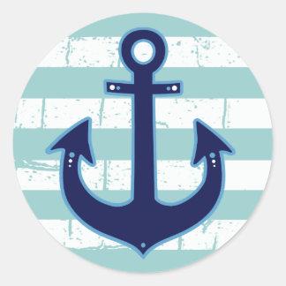 blue nautical anchor & stripes classic round sticker