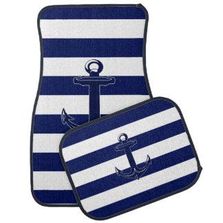 Blue Nautical Anchor White And Blue Stripes Car Mat
