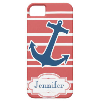 Blue Nautical Anchor with Red Stripes iPhone Case