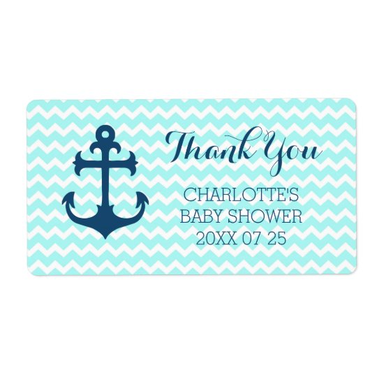Blue Nautical Baby Shower Favour Labels