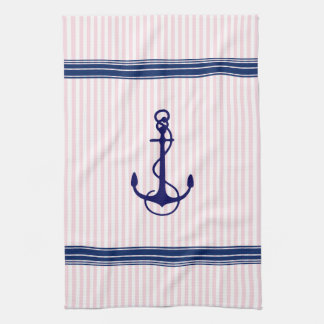 Blue Nautical Boat Anchor Stripes Accent Tea Towel