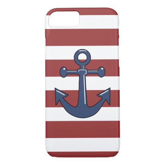 Blue Nautical Boat Ship Anchor Red White Stripes