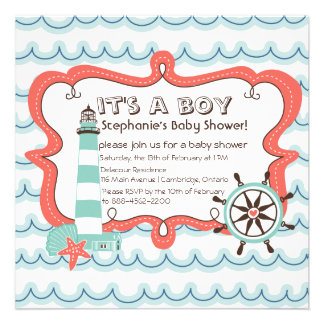 Blue Nautical It s a Boy Baby Shower Invitation